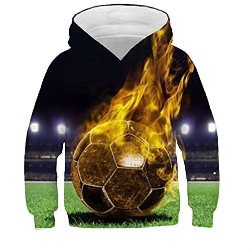 Niño niños 3D fútbol impresión con Capucha niña niños Deportes Sudadera con Capucha suéter (Color : C, Size : 160)