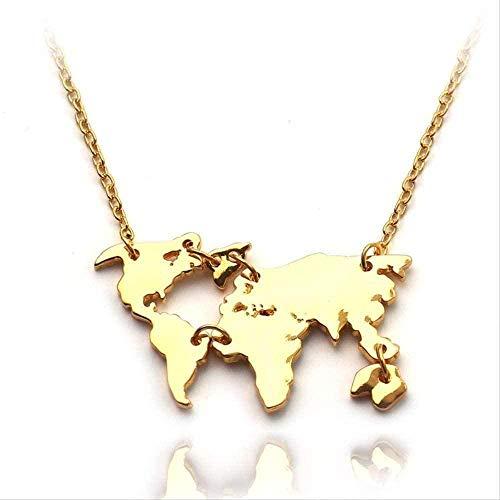 DUEJJH Co.,ltd Collar Molécula de serotonina Collares Pendientes Collar de molécula de dopamina Collar de Mapa del Mundo Montaña