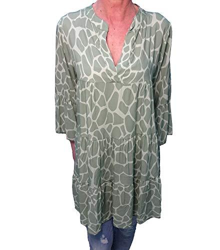 Damen Tunika Boho Lange Bluse Volants Animal Print grün