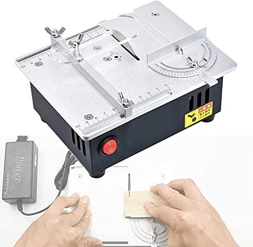ZHJIUXING HO Mini Sierra Circular de Mesa, Sierra de Banco Multifuncional, Regla de Empuje en ángulo y función de elevación de la Hoja de Sierra, Profundidad de Corte 14 mm, Silver