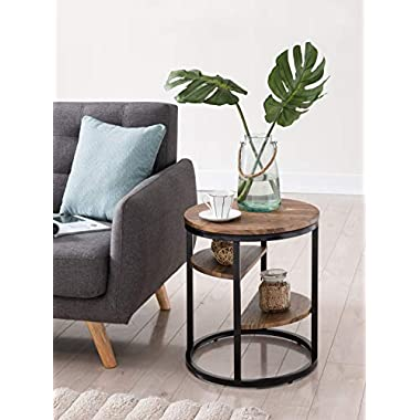 Vintage Brown Finish/Metal Frame 3-tier Round Side End Table Nightstand
