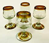 Mexican Tequila Shot Glasses, Amber Rim, Stemmed Design, Hand Blown, 3.5 oz, set of 4