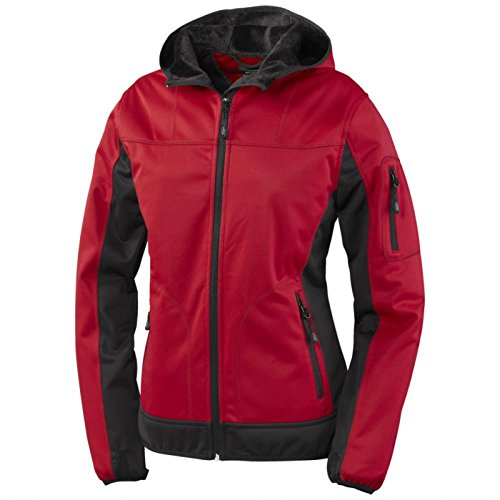 Jacke Damenjacke Crossover Damen-Kapuzen-Softshelljacke - Größe 4XL - rot/schwarz