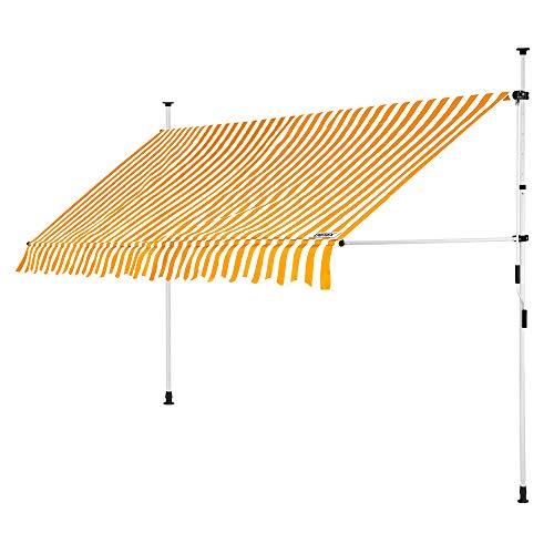 DeTeX Klemmmarkise 350 cm breit höhenverstellbar Gelb Weiß Handkurbel UV-beständig wasserabweisend Balkonmarkise Markise
