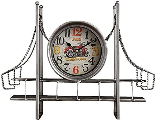Mute Antiguo Hierro Arte Metal Escritorio Reloj de Mesa Reloj de Mesa Reloj de Hogar Cocina Decorativo Silencioso Retro Nostalgia Diseño Creativo Adornos Regalos Alimentado por Batería (Color: Plata)