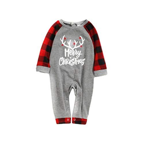 YOUJIAA 2Pcs Famille Ensemble Pyjama Noël Parent-Enfant Homewear Manche Longue Hauts + Checkered Pantalon (Bébé | Gris, CN 6M)