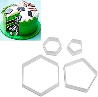 Mould Football Shape Cookie Cutter Hexagon Cutters Set Fondant Cake Mold DIY Craft Football Print Plunger Mold