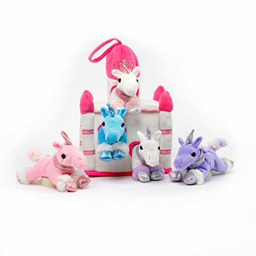 Plush Unicorn Castle with Animals - Five...