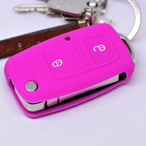 Soft Case Schutz Hülle Auto Schlüssel für VW Golf Polo Fox EOS Jetta SEAT Skoda 2 Tasten bis 2009 Klappschlüssel/Farbe: Pink