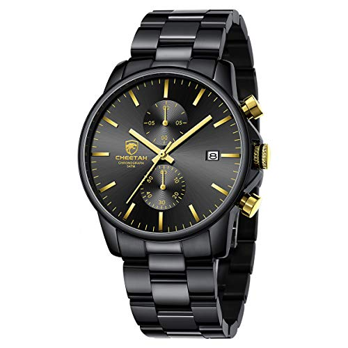 GOLDEN HOUR Reloj de Cuarzo para Hombre de Negocios de Moda con cronógrafo Impermeable de Acero Inoxidable para Hombre, Fecha automática (2-Tone Black/Gold)