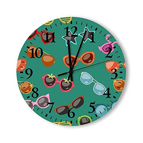 Reloj de pared de madera de 15 pulgadas con pilas, gafas de dibujos animados, gafas de sol en formas elegantes para fiestas, reloj de pared redondo para decoración de habitaciones de niños