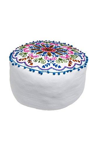 Orientalischer runder Pouf aus Baumwolle 50cm inklusive Füllung | Marokkanisches Sitzkissen Sitzpouf Kissen Jivan -4- ø 50cm Rund | Marokkanischer Hocker Sitzhocker Fusshocker Bestickt