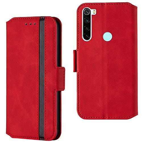 ARRYNN Handyhülle für Xiaomi Redmi Note 8T Hülle,Lederhülle Xiaomi Redmi Note 8T Flip Cover,Premium Schutzhülle Magnet Ledertasche für Xiaomi Redmi Note 8T (R-Rot)