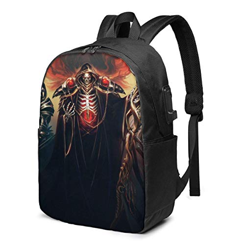 DJNGN Funny Overlord 17 in Backpack Computer USB Charger Bookbag Schoolbag Classic Women Boy Label Card Bag