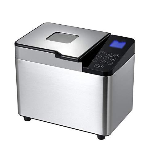 Zidao Brotbackautomat, Brotbäcker Brotgewicht Brotbackmaschine Mit LED Anzeige Programme Und Glutenfrei H Timer Und Warmhaltefunktion,Silber