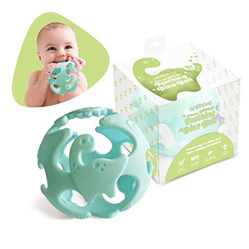 Ashtonbee Baby Teething Ball Teething Toys for Baby Dinosaur Teether Ball Baby Teething Pacifier Lightweight Teething Sensory Balls Green