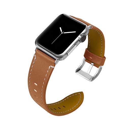 Fhony Correa de Cuero Compatible con Correas Apple Watch 38mm 40mm 42mm 44mm Piel Correa de Cuero Banda de Reemplazo de Cuero Genuino para Iwatch Series 6/5/4/3/2/1/SE,Marrón,42mm