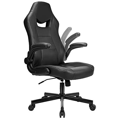 BASETBL Bürostuhl Gaming Stuhl Racing Stuhl mit großer Sitzfläche ergonomischem Design hochklappbarer Armlehne Wippfunktion Höhenverstellung 150kg belastbar Schwarz