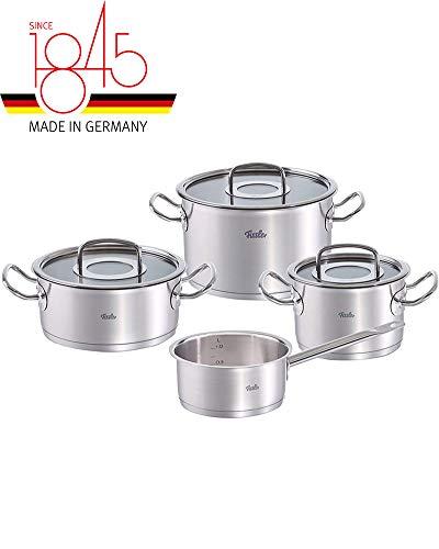 Fissler original-profi collection / Edelstahl-Topfset, 4-teilig, Kochtopf-Set, Töpfe mit Glas-Deckel, Induktion, alle Herdarten (2 Kochtöpfe, 1 Bratentopf, 1 Stielkasserolle-deckellos)