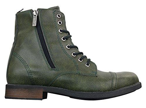 Tamboga Herrenstiefel Retro Vintage Blau Braun Militär Hiking Design Boots