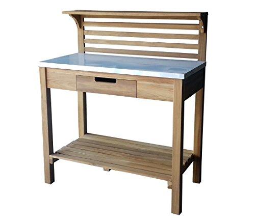 GRASEKAMP Qualität seit 1972 Teak Pflanztisch 100x50x95/125cm Blumentisch Arbeitstisch Zinkplatte Gartentisch