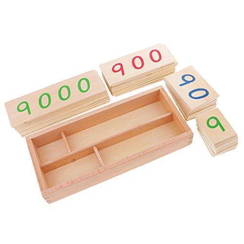 Montessori Mathematik Material: 1-9000 Nummer Karten in Holzbox, Kinder Lernspielzeug für Kindergarten/Grundschule - L