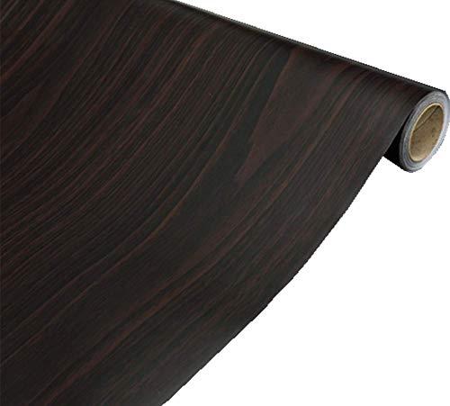 Black Brown Wood Grain Self Adhesive Shelf Liner Dresser Drawer Cabinet Sticker 15.6 by79in (Black Brown Maple Wood )