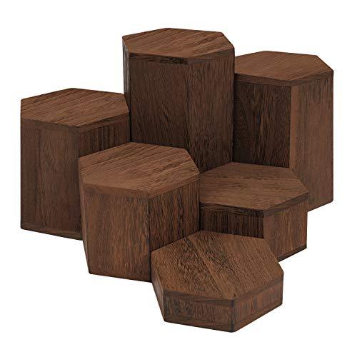 BELLE VOUS Expositor Hexagonal de Madera (Pack de 6) Expositor Figuras para Repisas y Encimeras - Expositor Miniaturas peldaños para Joyas, Tiendas, Figuras, Cupcakes y Postres