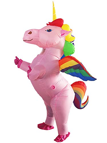 JYZCOS Unicorn Inflatable Pony with Wings Costume Halloween (Flying Rainbow Large)