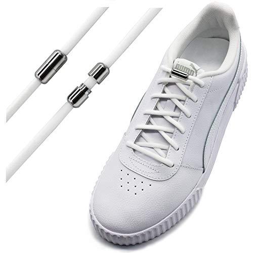 Run out sports Elastische Schnürsenkel ohne binden - schleifenlos - elastisch - Schnellschnürsystem/Schnellverschluss mit Metallkapsel (Weiß)