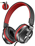 On-Ear Headphones with Microphone, Universal Foldable Wired Headphones for Adults Children Boys Girls Kids, Lightweight Portable Stereo Headphones with 1.5M Tangle-Free Cord for School Home Travel