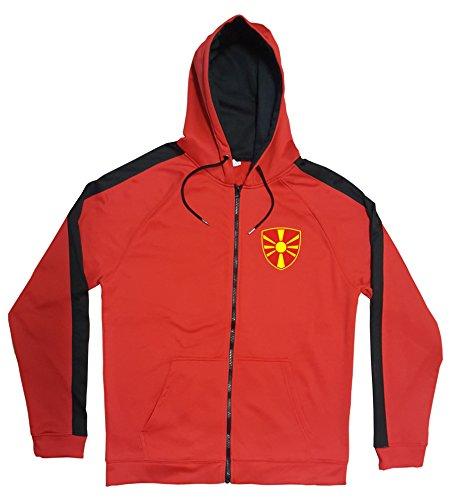 Mazedonien Jacke Sweater Rot JA GO Makedonija Trikot Look Zip Nation Fussball Sport (M)
