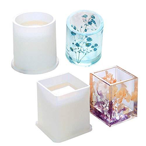 Silikonform Gießform Resin DIY Harz Casting Formen Umfassen Sie Quadrat, Zylinder, für Resin DIY Blumentöpfe Stifthalter,2 Stück