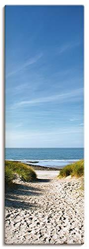 Artland Leinwandbilder auf Holz Wandbild 40x120 cm Hochformat Landschaft Meer Strand Urlaub Nordsee Dünen Sand Ozean Himmel Sommer T9EX