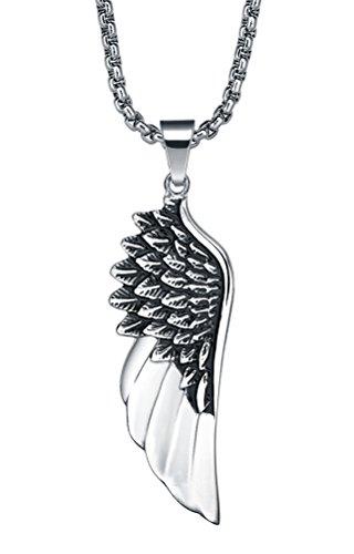 Acciaio inossidabile Collana con pendente da uomo o donna, Unise, angelo ala ciondolo con catena a maglia tonda- g2034d