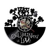 SHILLPS Reloj de Pared con Disco de Vinilo Steampunk, búho, Muebles Steampunk, Adornos de búho Steampunk, decoración gótica, Engranajes, Arte de Pared, decoración, Regalos con LED