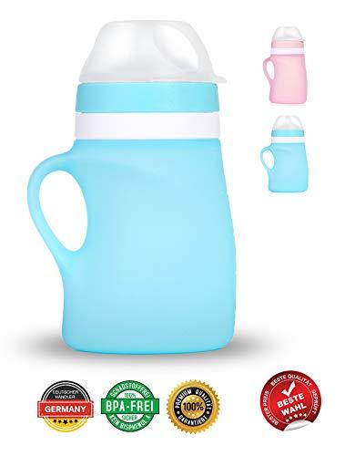 BOBBOLA Dein Quetschie 150ml BLAU, Quetschbeutel wiederverwendbar, BPA-frei, Quetschies wiederbefüllbar Spülmaschine für Brei, Fruchtmus, Joghurt, Quetschi wiederverwendbar Silikon (BLAU)
