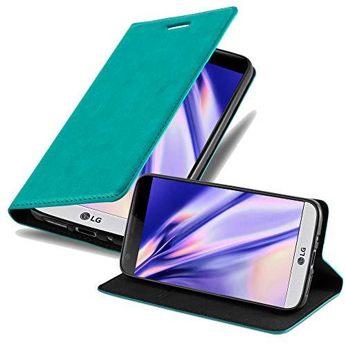 Cadorabo Hülle für LG G5 - Hülle in Petrol TÜRKIS – Handyhülle mit Magnetverschluss, Standfunktion & Kartenfach - Hülle Cover Schutzhülle Etui Tasche Book Klapp Style