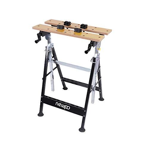 newpo Werktisch | Höhenverstellbar | HxBxT 850-1155 x 605 x 595 mm | Bock Arbeitsbock Sägebock Untergestell Spanntisch