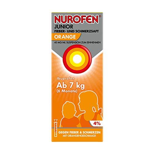 Nurofen Junior Fieber- und Schmerzsaft – Ibuprofen-Saft mit Orangen Geschmack bei Fieber und Schmerzen – Für Kinder – 40 mg/ 100 ml