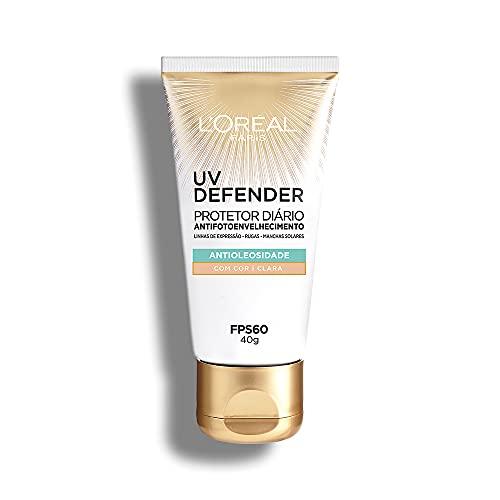 Protetor Solar Facial L'Oréal Paris UV Defender Antioleosidade Cor Clara FPS 60, 40g