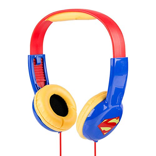 Superman HP2-03390 Kid Safe Over-Ear Headphones W/Volume Limiter by Sakar, Adjustable Headband, Comfortable Ear Cups, Great Audio, Kids Safe Technology, Red Blue