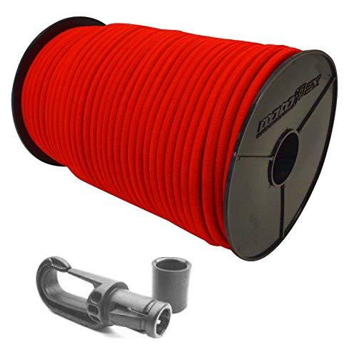 6mm Expanderseil 20m Gummiseil + 10 Karabiner Gummileine Planenseil Seil Plane in Rot