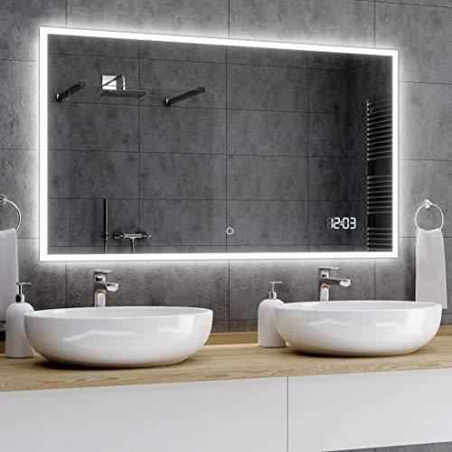 Alasta® Moderne en Verlichte Badkamerspiegel - 170x100 cm - Model Boston - Spiegel met Aanraaklichtschakelaar en LED Klok