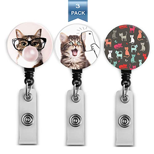Retractable Badge Holder Reel ID Badge Name Holder with Alligator Clip for Office Worker Doctor Nurse (LE-LB-3pack Cute Cats)