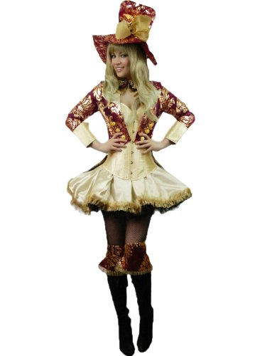 Yummy Bee Mad Hatter Cappellaio Matto Alice in Wonderland Costume Taglia Forte 34 - 48 Deluxe (Donna: 34-36)