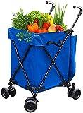 Dengbang Einkaufswagen Faltkartonwagen, Einkaufswagen auf Rädern, Klappkiste, Kastenwagen für Gartenhaus, Küche, Lagereinkäufer-Blue