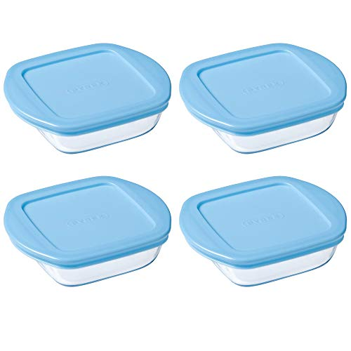 Pyrex Microwave Safe Classic Square Glass Dish Plastic Lid 0.35 Litre Blue (Pack of 4)