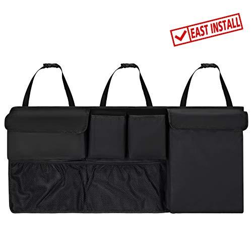 Hansiro Auto-Kofferraum-Organizer mit Klett | 100 x 45 cm Kofferraumtasche Autotasche Aufbewahrungstasche | Schwarz