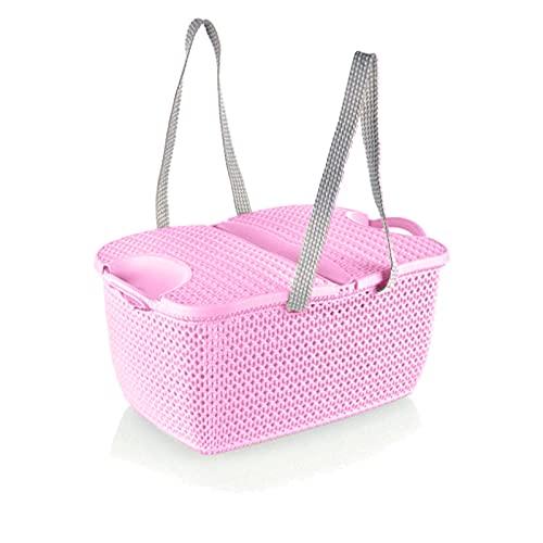 HUIJK Picknickkorb Rattan Korb mit Deckel 27 Liter Picknickkoffer Picknicktasche (Color : Rosa)